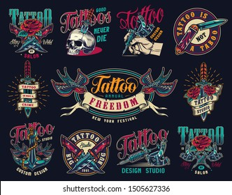 Tattoo studio colorful vintage badges with military and pocket knives skull pierced with dagger tattoo machines ship anchor swallows holding ribbon with freedom word isolated vector illustration