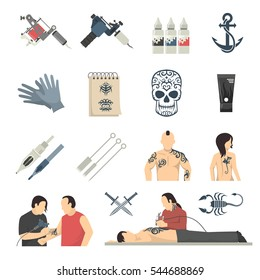 Tattoo studio designs equipment and procedures with artist using electric machine flat icons collection isolated vector illustration
