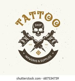 Tattoo studio emblem. Human skull outline drawing. Tattoo shop advertising. Vector vintage illustration.