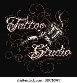 Tattoo studio emblem with tattoo machine and lettering on dark backgrounds with vibes