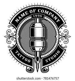 Tattoo studio emblem template. Vintage style frame with tattoo machine. Text is on the separate layer. (Version for white background)
