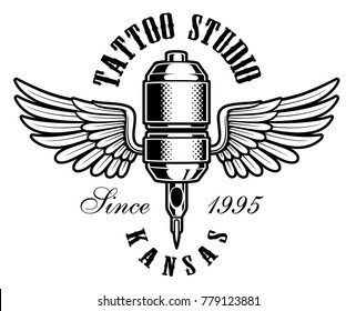 Tattoo studio emblem. Vintage illustration of tattoo machine with wings. Text is on the separate layer.