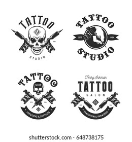 Tattoo studio emblems set. Hand holding tattoo machine. Human skulls outline drawing. Tattoo shop advertising. Vector vintage illustration.