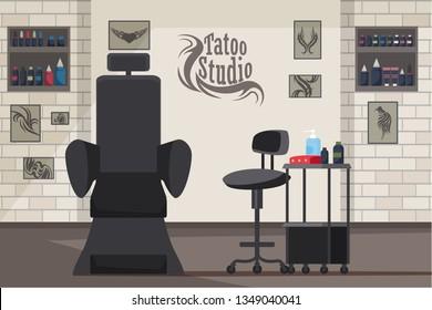 Tattoo studio interior flat vector illustration. Stylish modern empty beauty salon. Tattoos cool black sketches hanging on brick wall. Tattoo machine and inks. Tools and equipment cartoon drawing