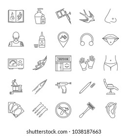 Tattoo studio linear icons set. Piercing service. Tattoo sketches, instruments and equipment. Thin line contour symbols. Isolated vector outline illustrations. Editable stroke