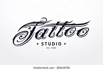 Tattoo studio logo template. Tattoo styled lettering. Vector art.