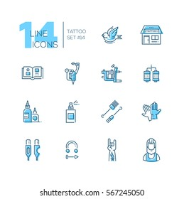 Tattoo Studio - modern vector line design icons set with accent color. Bird, storefront, sample book, tattoo machine, coils, ink, spray, needles, piercing, hand artist. Material design concept symbols