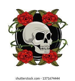 Tattoo studio old school. skull and roses.