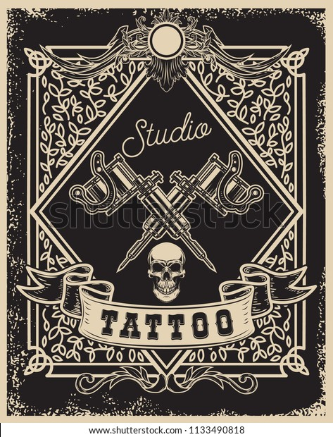 Tattoo Studio Poster Template Crossed Tattoo Stock Vector (Royalty