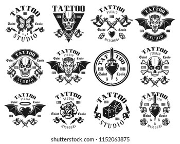 Tattoo studio set of twelve vector emblems, t shirt prints, labels, badges or logos in vintage monochrome style isolated on white background
