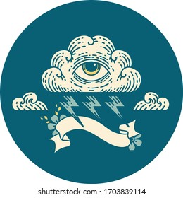 tattoo style icon with banner of an all seeing eye cloud