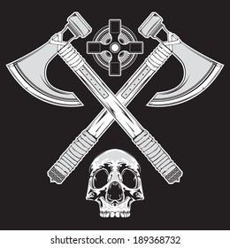 A tattoo style illustration of crossed battle axes, a human skull, and a celtic cross, in vector format.