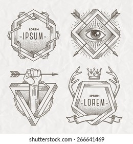 Tattoo style line art emblem with heraldic elements and impossible shape - vector illustration