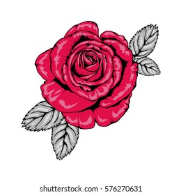 Tattoo Style Rose Illustration in Red, Pink, Black and Grey V3