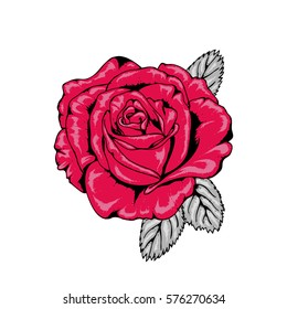 Tattoo Style Rose Illustration in Red, Pink, Black and Grey V1