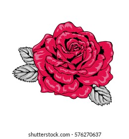Tattoo Style Rose Illustration in Red, Pink, Black and Grey V2