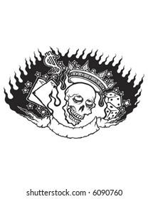 Tattoo style skull design