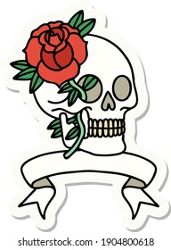 tattoo style sticker with banner of a skull and rose