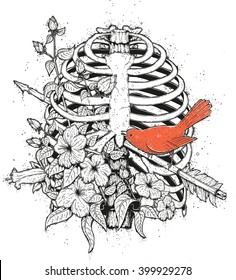Tattoo style t-shirt print with a rib cage, flowers and a bird. Arrow shot in the chest and a red bird sitting on it. Vector hand drawn illustration of a heart break metaphor.