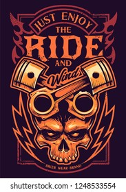 Tattoo style vector art with bike attributes. Two crossed pistons, skull, fire and lightnings. Typography saying Just Enjoy the Ride. Weathered grunge style print for bikers.
