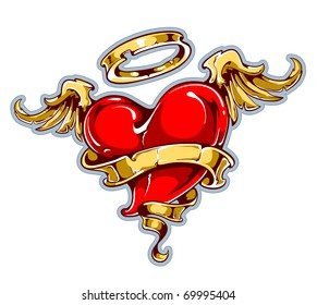 Tattoo styled heart with wings, halo and ribbon for your text. Layered. Vector EPS 10 illustration.