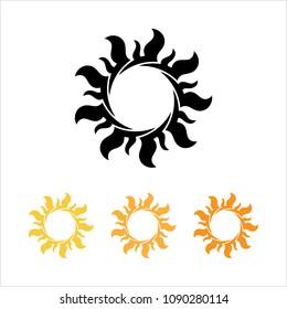 Tattoo Sun, Flame Tribal Design Vector Art Illustration