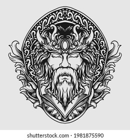 tattoo and t shirt design black and white hand drawn gods zeus head engraving ornament