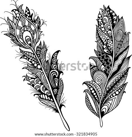 Tattoo Template | Tattoo Template Feathers Stock Vektorgrafik Lizenzfrei 321834905