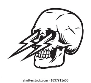 Tattoo template of skull with thunderbolts in its eye sockets in vintage monochrome style isolated vector illustration