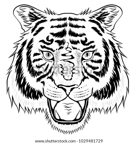 fcaafe9647c0b Royalty-free stock vector images ID: 1029481729. Tattoo tiger head isolated  on white. - Vector