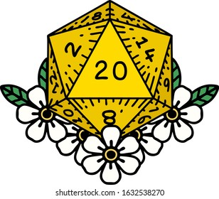 tattoo in traditional style of a d20