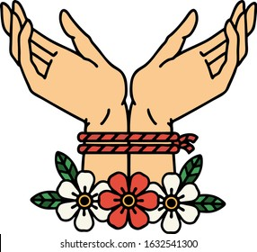 tattoo in traditional style of hands tied