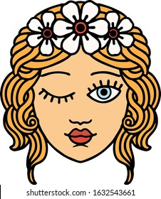 tattoo in traditional style of a maidens face winking