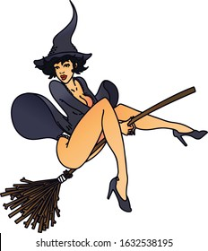 tattoo in traditional style of a pinup witch
