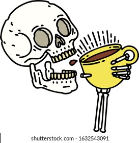 tattoo in traditional style of a skull drinking coffee