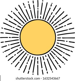 tattoo in traditional style of a sun