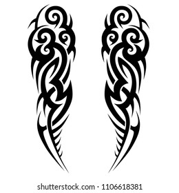 tattoo tribal abstract sleeve, black arm shoulder tattoo pattern vector, sketch art design isolated on white background