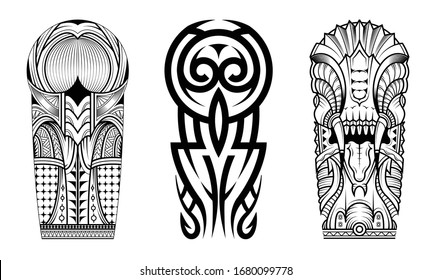 Tattoo tribal abstract sleeve set, black arm shoulder tattoo fantasy pattern vector art design isolated on white background