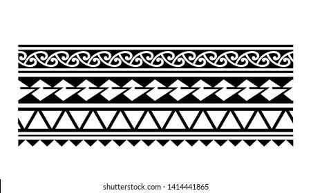 1e47def90536a Tattoo tribal maori pattern bracelet, polynesian ornamental border design  seamless vector isolated on white background