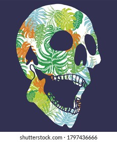 Tattoo tribal skull and tropical leaves graphic design vector art