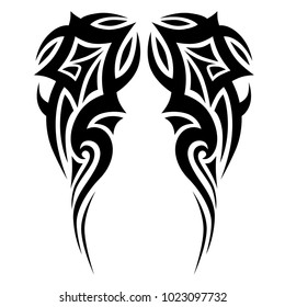 tattoo tribal sleeve design, vector tribal symmetric pattern elements for tattoo men right and left hand and shoulders, art deco idea tattoos design body