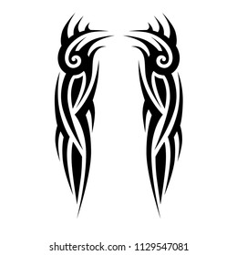 tattoo tribal sleeve, tribal symmetric pattern elements for tattoo men right and left hand and shoulders, art sketch embroidery fashion neckline design, vector celtic