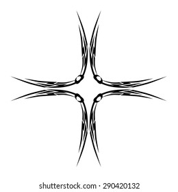 Tattoo tribal vector design sketch. Cross art decorative black ornament. Simple logo on white background. Designer isolated abstract element for arm, leg, shoulder men and women.