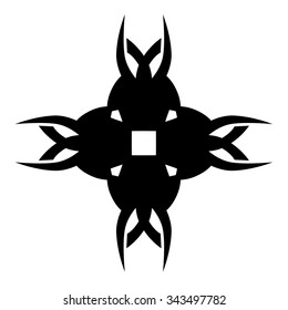 Tattoo tribal vector design sketch. Single cross pattern. Simple logo. Designer isolated abstract element for arm, leg, shoulder men and women on white background.
