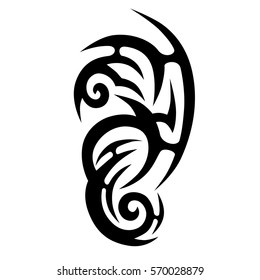 Tattoo tribal vector design sketch. Single sleeve pattern arm. Simple logo. Designer simple element for arm, leg , shoulder men and women. Abstract  illustration.