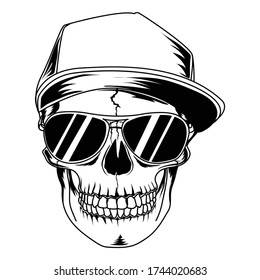 tattoo and tshirt design black and white handdrawn fanky skull with cool hat and black glasses premium vector