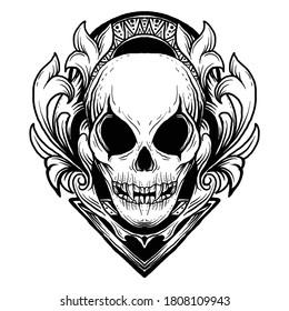 tattoo and t-shirt design black and white hand drawn alien skull engraving ornament premium vector