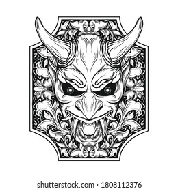 tattoo and t-shirt design black and white hand drawn oni mask in frame engraving ornament premium vector