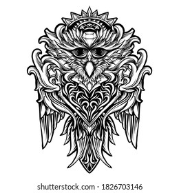 tattoo and t-shirt design black and white hand drawn owl bird engraving ornament  premium vector