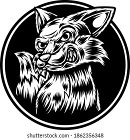 Tattoo and T-shirt design black and white Fox Illustration